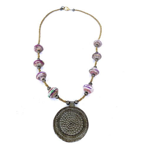 ti Medallion Necklace Raspberry