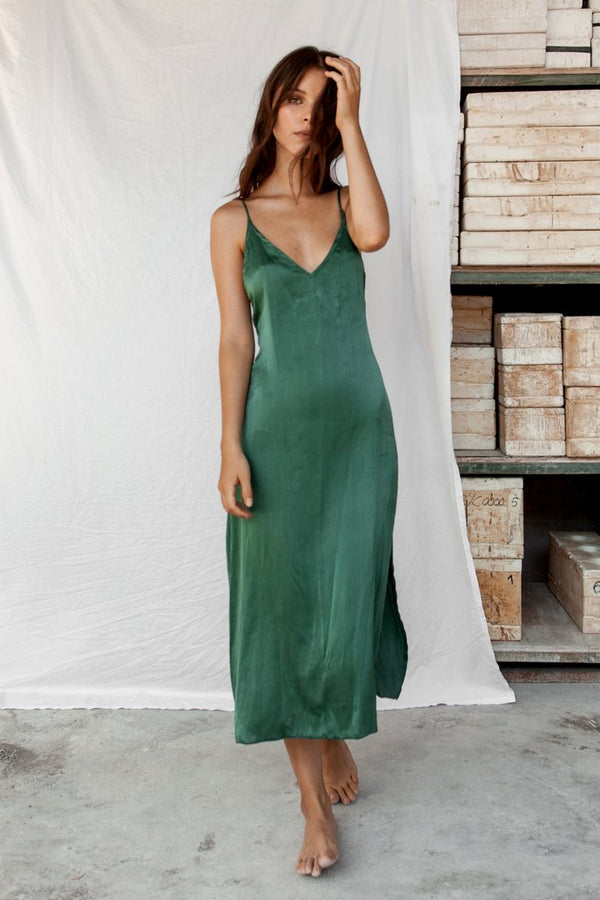 Lily - Emerald Silk Dress | Black Book Fashion