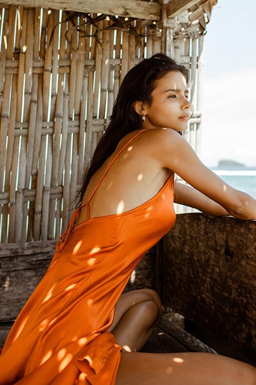 Lily Silk Dress - Burnt Orange | Black Book Fashion