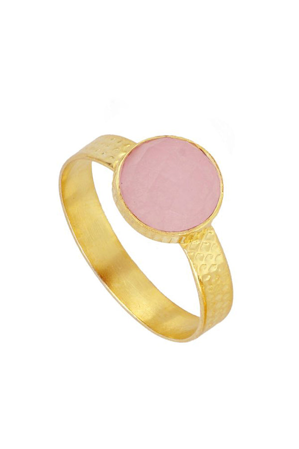 Pink Quartz Round Ring | Black Book Fashion