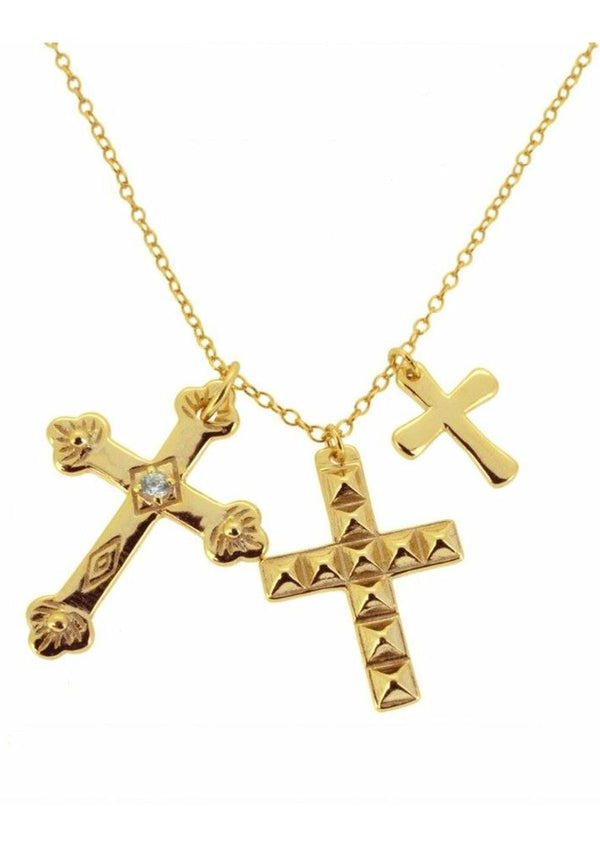Three Crosses Necklace | Black Book Fashion