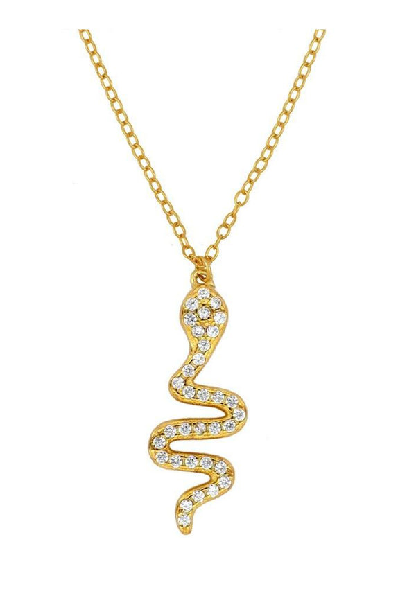 Snake Zirconias Necklace | Black Book Fashion