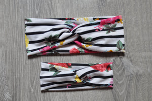 Black/White Striped Floral Twist Headband