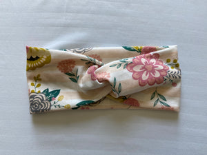 Pink and White Striped Floral Twist Headband