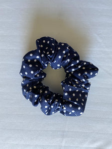 Navy and White Polka Dot Scrunchie