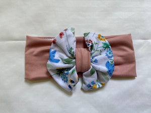 Dusty Pink/Floral Baby Bow Headband