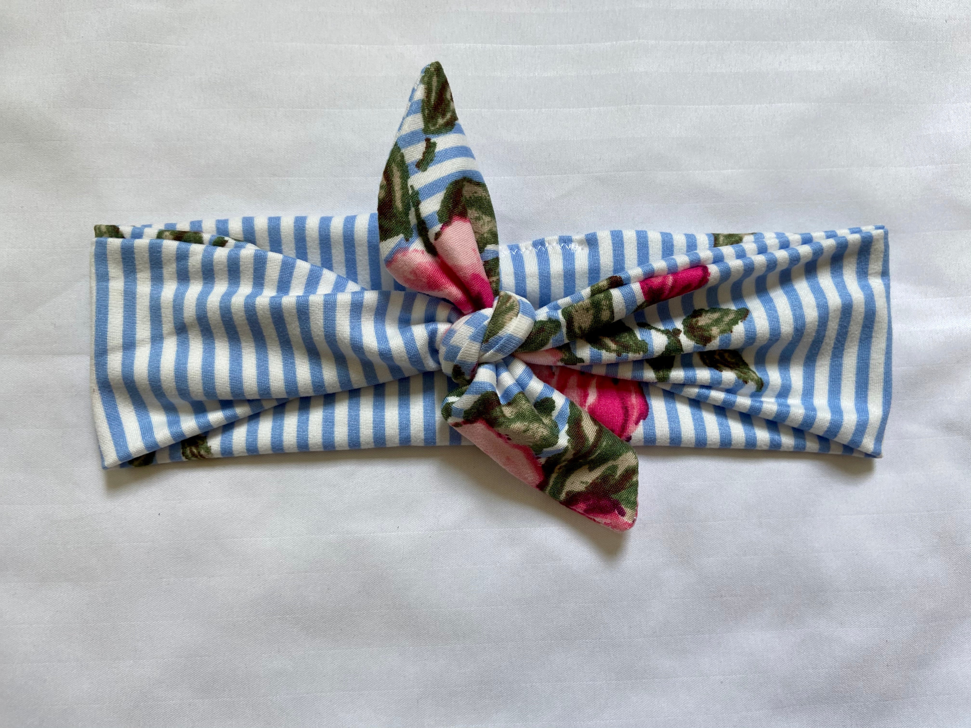 Striped Rose Tie Headband