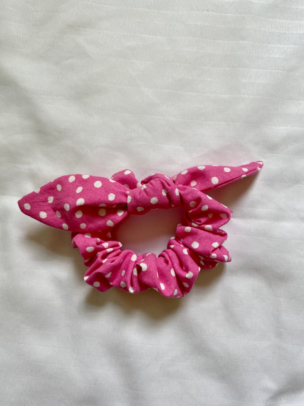 Pink with White Polka Dots Ribbon Scrunchie