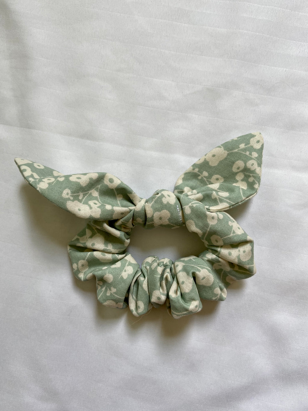 Mint with Cream Floral Ribbon Scrunchie