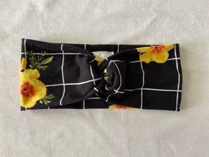 Black with White Grid and Yellow Floral Twist Headband