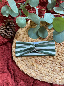 Olive and White Striped Twist Headband