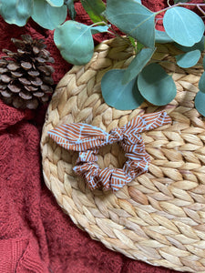 Caramel and White Tribal Scrunchie with Ribbon