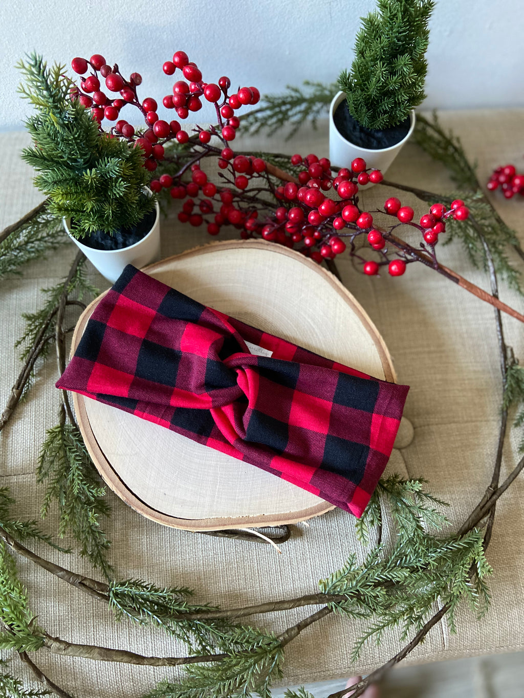 Red Buffalo Plaid Twist Headband