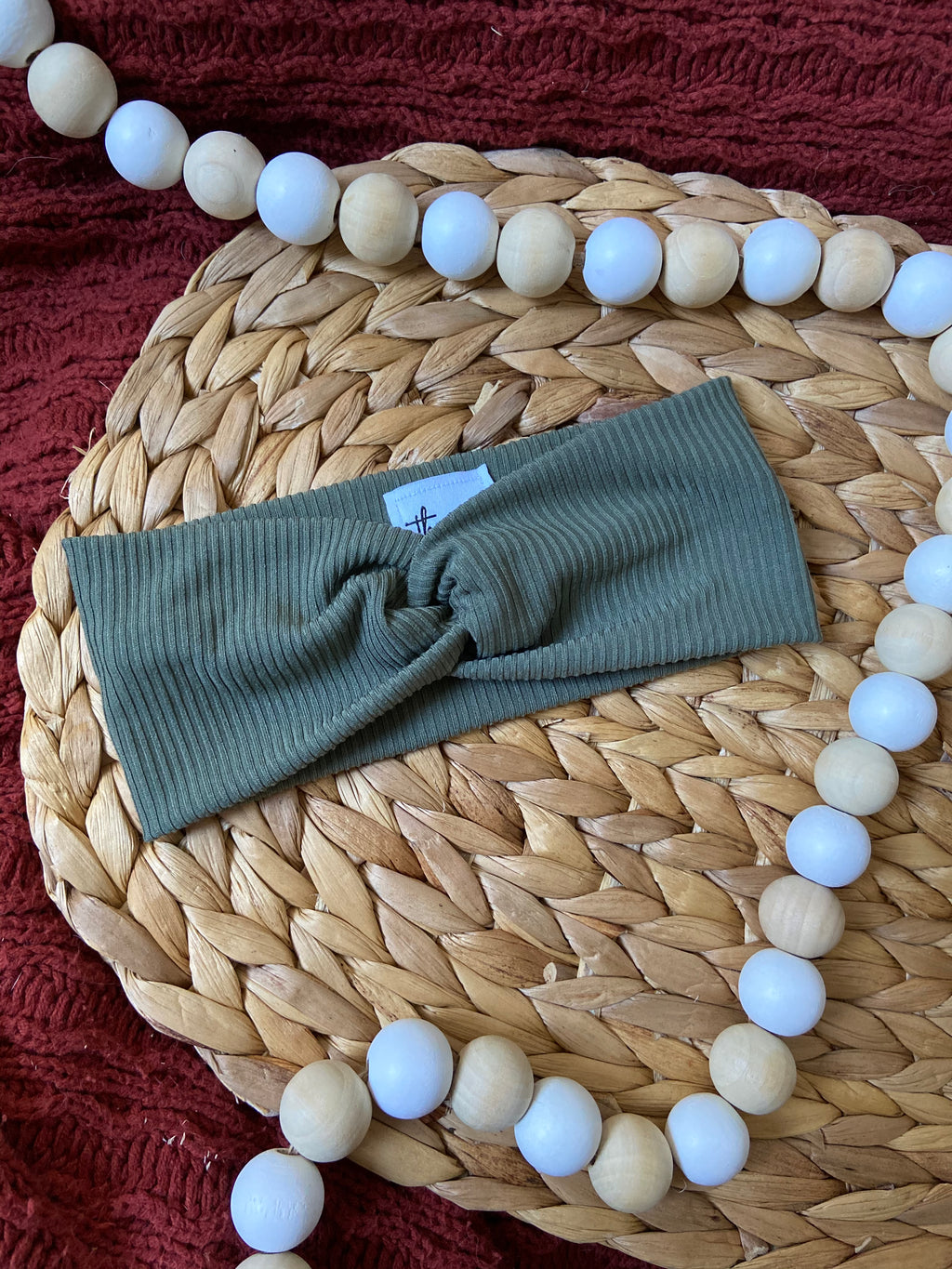 Ribbed Olive Twist Headband