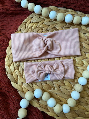 Ribbed Pink Baby Bow Headband