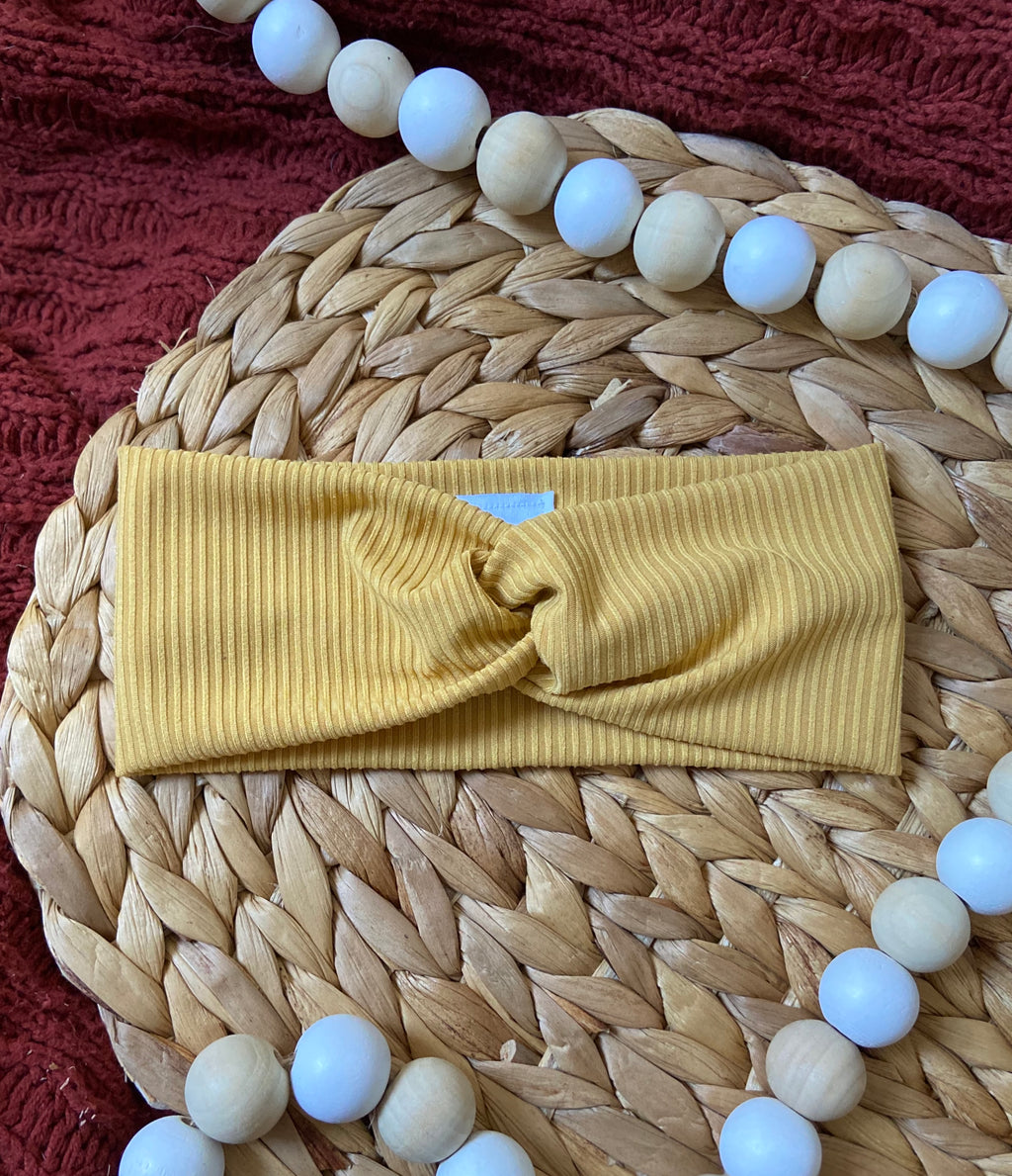 Ribbed Mustard Twist Headband