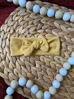 Ribbed Mustard Baby Bow Headband
