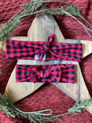 Red and Black Checkered Tie Headband
