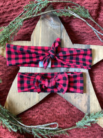 Red and Black Checkered Baby Bow