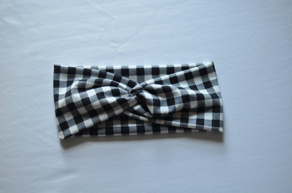 White Checkered Twist Headband
