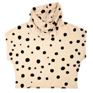 Bamboo Jersey Knit Cowl // Black Polka Dots on Cream