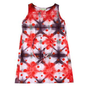 Reds Shibori Tent Dress with Polka Dots Print