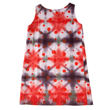 Load image into Gallery viewer, Reds Shibori Tent Dress with Polka Dots Print