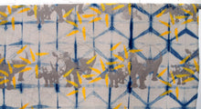 Load image into Gallery viewer, Indigo Dyed Linen with Printed Rhinos and Islands