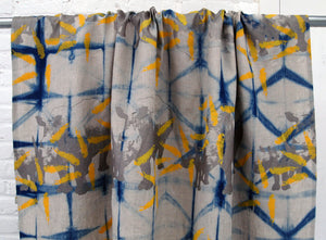 Indigo Dyed Linen with Printed Rhinos and Islands