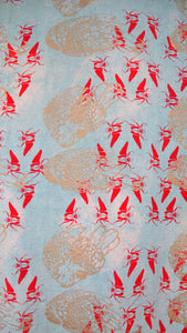 Turquoise Dyed Linen Printed Chickens and Goliath Beetles