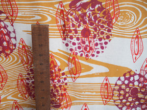 Hand Screenprinted Bamboo Hemp Jersey by Yard // Mustard Yellow, Magenta, Scarlet Red