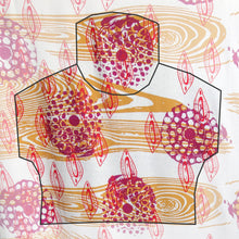 Load image into Gallery viewer, Hand Screenprinted Bamboo Hemp Jersey by Yard // Mustard Yellow, Magenta, Scarlet Red