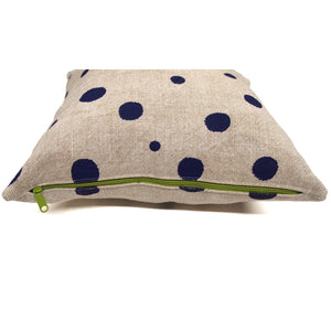 Hand Printed Polka Dot Basketweave Heavy Linen Throws Pillows