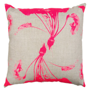 Dancing Beets Print Heavy Basketweave Linen Pillows