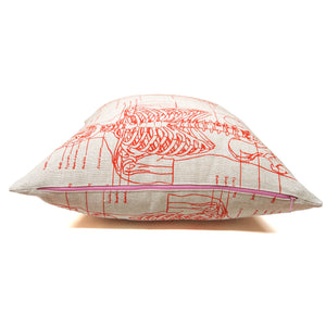 Hand Printed Skeleton Basketweave Heavy Linen Throw Pillows