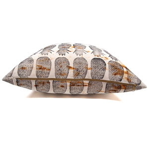 Rust Dyed Pineapple Block Print Pillow // Made to Order