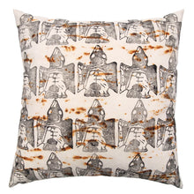 Load image into Gallery viewer, Rust Dyed Canvas with Bird Block Print Extra Large Throw Pillow