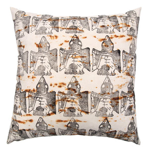 Rust Dyed Canvas with Bird Block Print Extra Large Throw Pillow