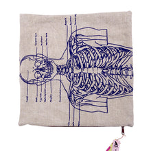 Load image into Gallery viewer, Hand Printed Skeleton Basketweave Heavy Linen Throw Pillows