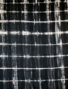 Black Linen Anti Shibori Dyed Printed with Goliath Beetles and Feather Rings