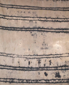 Black Linen Anti Shibori Dyed Printed with Horses and Firework Remnants
