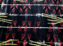 Load image into Gallery viewer, Black Linen Anti Shibori Dyed Printed with Goliath Beetles and Feather Rings