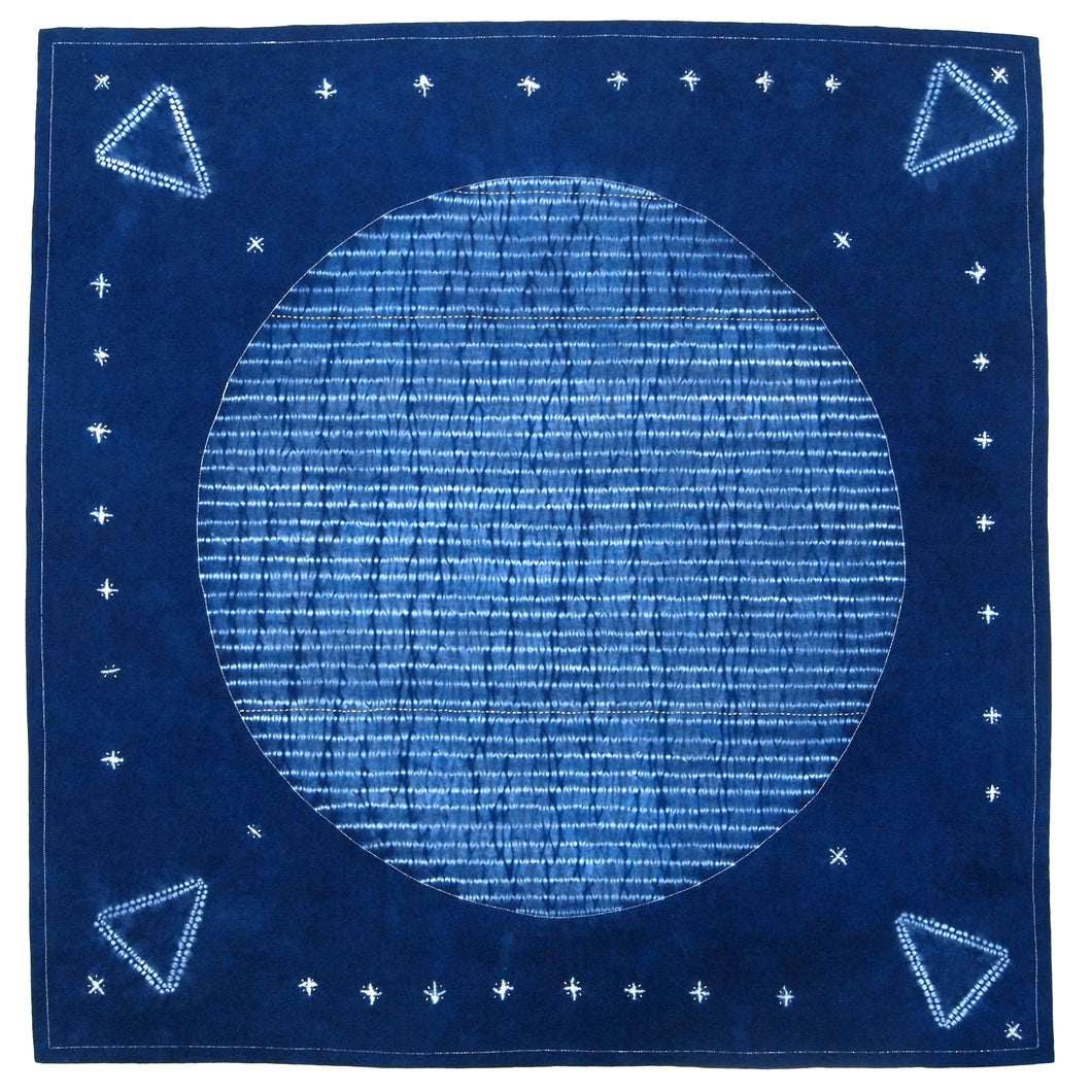 Stitching Resist Shibori + Embroidered Fabric; Moon