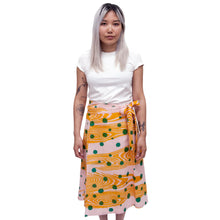 Load image into Gallery viewer, Linen Madder Root Dyed Wrap Skirt with Woodgrain and Polka Dot Print