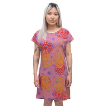 Load image into Gallery viewer, White Linen Shift Dress with bellflowers, goliath beetles, and polka dots