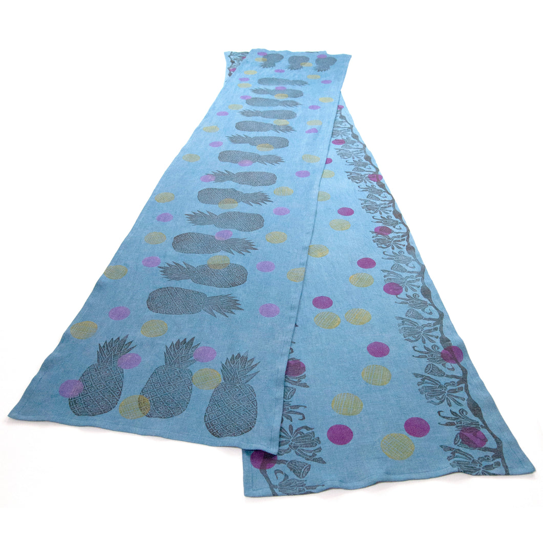 Indigo Dyed Linen Pineapple or Floral Blockprinted Table Runners