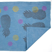 Load image into Gallery viewer, Indigo Dyed Linen Pineapple or Floral Blockprinted Table Runners