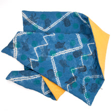 Load image into Gallery viewer, Padded Throw // Indigo Dyed Linen Printed with Animal Blocks and Polka Dots
