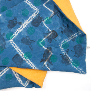 Padded Throw // Indigo Dyed Linen Printed with Animal Blocks and Polka Dots