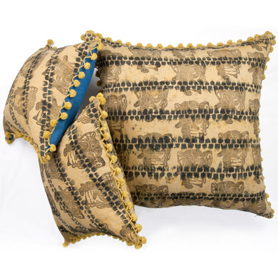 Olive Linen AntiDyed Shibori Blockprinted Throw Pillows